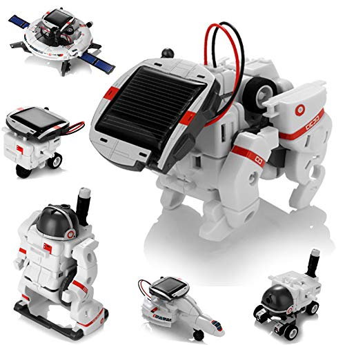 Solar Robot Toys 6 in 1 STEM Learning Kits Educational Space Moon Exploration Fleet Building Experiment Toys DIY Solar Power Science Gift for Kids Aged 8-12
