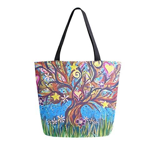 Ahomy Reusable Canvas Grocery Tote Bags, Tree Of Life Stars Heart Women Handbag Shopping Tote Work School