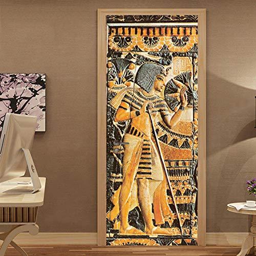 YQLKD Pegatinas Decorativas De Puerta 3D En Relieve Estatua del Faraón Egipcio Retrato Papel Tapiz Decoración del Hogar Etiqueta De La Puerta Retro