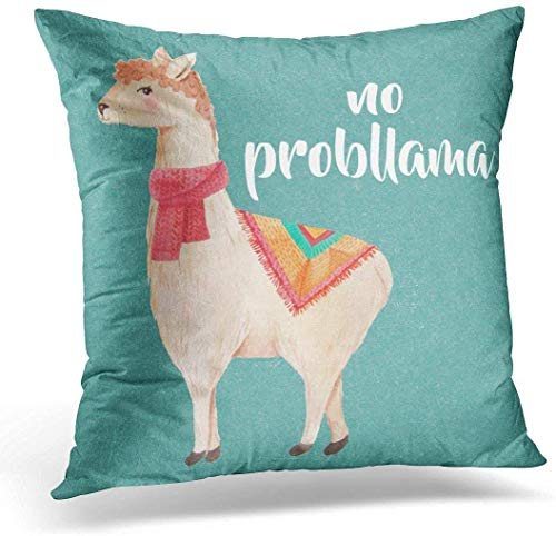 BettiCharm Throw Pillow Cover Best No Watercolor Llamas Aunt Decorative Pillow Case Home Decor Square 18x18 Inches Pillowcase