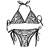 Mayan Calendar End of The World Impreso Bikini para Mujer, Traje de baño Triangular Traje de baño de Playa Negro