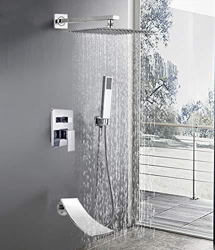 ZYHYCH Juego de ducha de lluvia cromado, grifo de ducha de lluvia de acero inoxidable en la pared, grifo de ducha de mano de plástico con caño giratorio, 16 pulgadas3, vías B
