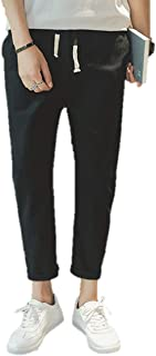 [ライオンガーデン] 綿麻 ボトムス すっきり パンツ ズボン 調整ひも付き ウエストゴム メンズ シンプル 無地