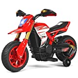 HONEY JOY Ride On Motorcycle, 6V Electric Motorcycle for Kids with Training Wheels, Spring Suspension, Headlight, 3-Wheels Mini Motorized Dirt Bike for Baby Girl Boy (Red)