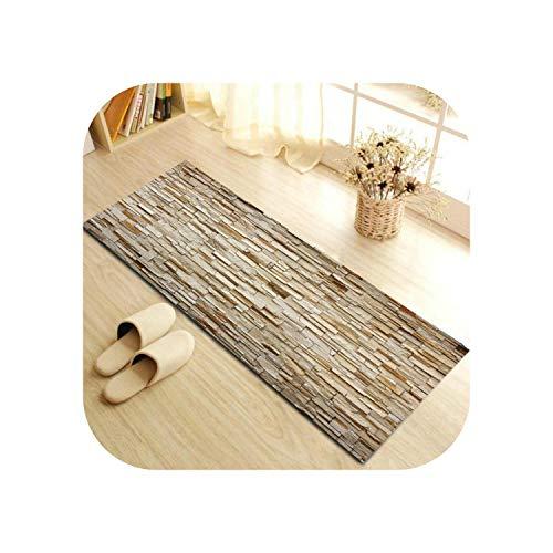 Big Incisors Graphite Grey Area Rug |Grüner HX klassischer Backsteinmauersteinteppich 3D-Kultursteindruckmatten Schlafzimmer Salonmatte Kriechschritte Küche Badezimmerteppich-C15P03-40x120cm