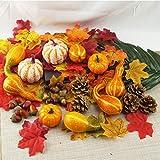 166 piezas de calabazas artificiales de otoño, mini calabazas, conos de pino, hojas, bellotas y bayas Kit de decoración de otoño para el día de acción de gracias y Halloween