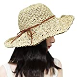 Xixihaha Sun Hats for Women Ladies Wide Brim Foldable Adjustable Summer Floppy Straw
