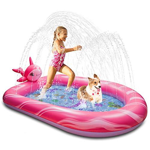 Weokeey Splash Pool & Pad – Alfombrilla para aspersores para niños de 3 – 12 años de edad, 69 x 49 x 8 pulgadas
