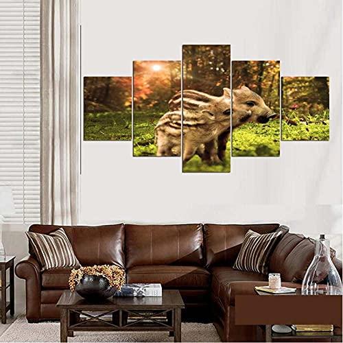 GHYTR Imagen sobre Lienzo Cuadros Abstractos Modernos XXL Poster 5 Piezas Bebé Jabalí Lindo Divertido Arte De Pared Imágenes Modulares Sala De Estar Decoración para El Hogar 150X80Cm