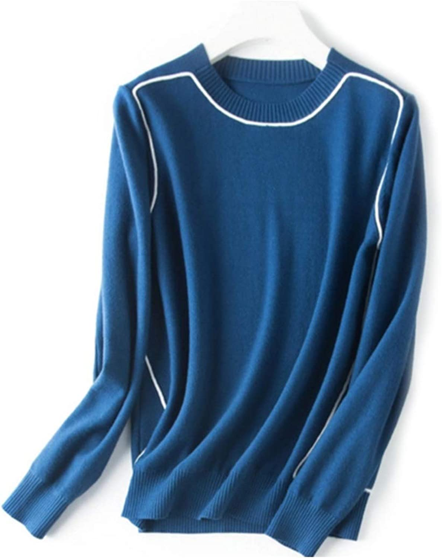 CEFULTY Women's Warm Knit Cotton Sweater Long Sleeve Round Neck Size MXXL
