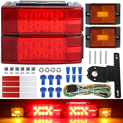 Linkitom Submersible LED Trailer Light Kit, Super Bright Brake Stop Turn Tail License Lights for Camper Truck RV Boat Snowmobile, IP68 Waterproof, DOT Approval