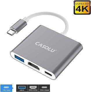 آداپتور USB C به HDMI ، USB 3.1 Type-C Hub به HDMI 4k + USB 3.0 + USB-C درگاه شارژ ، آداپتور MacMI HDMI ، آداپتور چند منظوره دیجیتال USB-C دیجیتال برای MacBook Pro / S8 + / S9 + / پروژکتور / Monito ay خاکستری