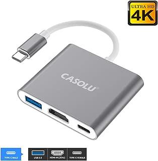 USB C to HDMI Adapter, USB 3.1 Type-C Hub to HDMI 4K+USB 3.0+USB-C Charging Port, MacBook/iMac HDMI Adapter,USB-C Digital AV Multiport Adapter for MacBook Pro/iPad Pro/S8+/S9+/Projector/Monitor(Gray)