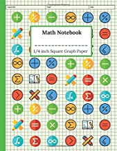 Math Notebook 1/4 Inch Squares Graph Paper: Quad Ruled 5 x 5 Graph Paper for Math and Science Chemistry Biology Laboratory Experiments Log Book, Green Practice Worksheet