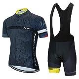 EIDKWTR Conjunto de trajes de ciclismo de manga corta de verano para hombres Jersey de ciclismo con pantalones cortos de montar acolchados con gel 5D