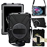 Microsoft Surface Go Case, Heavy Duty Rugged Case with Pen Holder, [360 Degree Rotating Hand Strap/Kickstand +Shoulder Strap] for Surface Go 10 Inch 2018, Not Compatible with Type Cover Keyboard(black