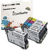 iCartouche Compatible Cartucho de Tinta para Epson 603XL 603 XL Expression Home XP-2100 XP-2105 XP-3100 XP-3105 XP-4100 XP-4105 WorkForce WF-2810DWF WF-2850DWF WF-2835DWF WF-2830DWF (2BK 1C 1M 1Y)