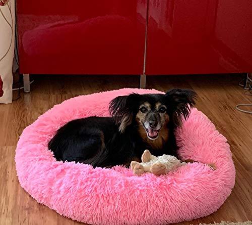 Monba Haustierbett weiches Hundebett mit rundem Nest, warm, Rutschfester Unterseite, für mittelgroße Hunde und Katzen