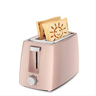 Home Electric broodrooster, 220 V, 2 sneden, automatische ontbijtmachine met stofdichte deksel, eiervorm, broodclip, roze,...