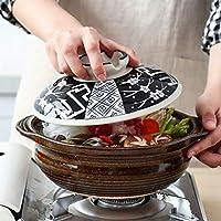 LGR 日本の土鍋炊飯器、セラミックで覆われたキャセロール、印刷された耐熱土器粘土鍋、耐熱スープ鍋スローシチュー鍋、健康鍋A 1.8l