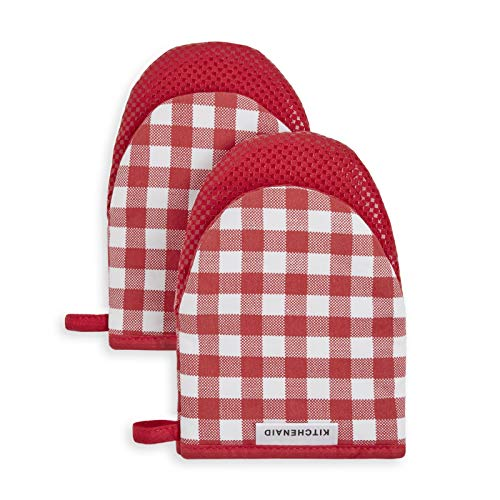 "KitchenAid Kitchen Aid Gingham Mini Oven Mitt Set, 5.5""x8"", Passion Red"