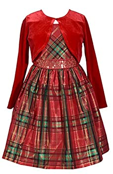 Bonnie Jean Toddler Girl s Holiday Christmas Dress - Plaid with Red Velvet Cardigan  2T