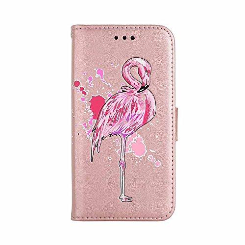 Funda Huawei P10 Lite, COOSTOREEU Hermoso Brillo Flamingo Patrón PU Cierre Magnético de Cuero 360 Grados Funda Protectora de la Cartera,Rosa Dorado