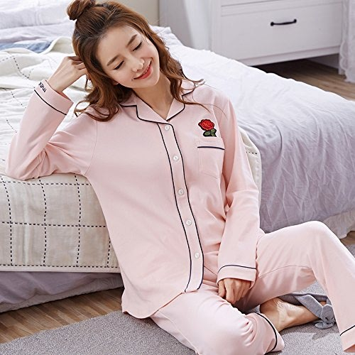 WXIN Pyjamas Femme Coton Manches Longues Femme Costume voiturougeigan Coton Rouge XXL Rose Clair