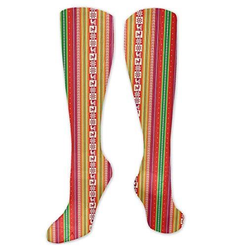 JONINOT Manga de compresin de rodilla de 60 cm, colorido atltico sudamericano con pjaros, fronteras tradicionales bolivianas, medias deportivas altas