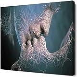 Decorazione murale Non tessuto Amore bacio Pittura a olio Coppia astratta Dipinti su tela Immagine del soggiorno Decorazioni per la casa, elasticizzato e cornice