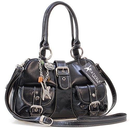 Catwalk Collection Handbags - Leder - Umhängetasche/Henkeltasche - Handtasche mit Schultergurt/Schultertasche - FAITH - Schwarz