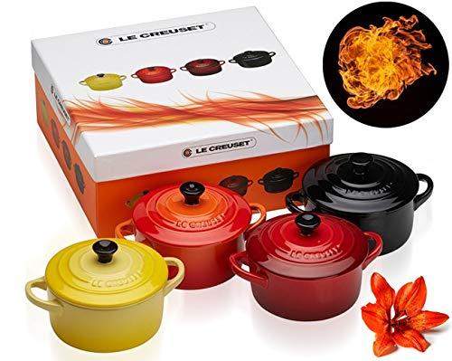 Le Creuset 91006900512000 Set de 4 cocottes pequeñas de cerámica de gres, 0.2 L Amarillo Soleil, Volcánico, Cereza, Negro, Multicolor