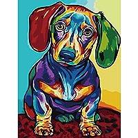 番号キットによるDIY絵画子供と大人のためのキャンバス油絵キット16x20インチの描画塗装色の犬40X50Cm
