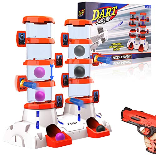 Double Barrel Target for Shooting Games, 2020 Newest Battle Nerf Target - Ideal Gift Toy for Age of Kids Boys & Girls 6, 7, 8, 9, 10+ Shooting Practice for Nerf Toys Indoor Outdoor (Target Only)