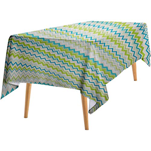 Teal and White Deep Dream Wallpaper Zig Zag Lines in Horizontal Order Chevron Triangles Geometric Indoor and Outdoor tablecloths 60'x102' Yellowgreen Blue Cream.jpg