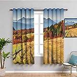Colección de decoración de habitación Cortina de cocina Woodsy Campo Cercas de granja soleado cálido otoño clima calma vista uso diario pimentón azul oliva 52 x 200 cm