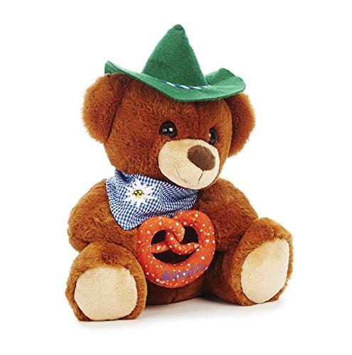 Aurora Plüsch Bayernbär ca. 30 cm Bär Teddy - Bayern - Oktoberfest - Halstuch mit Edelweiß Bestickt, mit grünem Hut - mit Breze in der Hand , Bestickt mit Bavaria in Blauer Schrift (Bär)