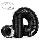 VICKMALL Tubo di ventilazione in alluminio, flessibile, per asciugatrice, tubo di sfiato in PVC con 2 fascette stringitubo, adatto per bagno, cucina, WC, nero, diametro 102 mm, lunghezza 1,5 m