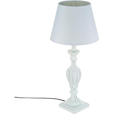 Lampe 56cm en bois patiné blanc