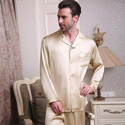 Herren-Pyjama aus echter Seide, Frühling und Sommer, langärmelig, zweiteiliger Schlafanzug aus Maulbeerseide (Farbe: Violett Grau)
