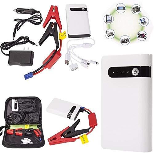 Arrancador portátil para coche, (hasta 7,2 l de gas, motor diésel de 5,5 l) 12 V 2000 mA Power Pack Auto batería Booster con luz LED incorporada Banco de energía portátil con carga rápida USB
