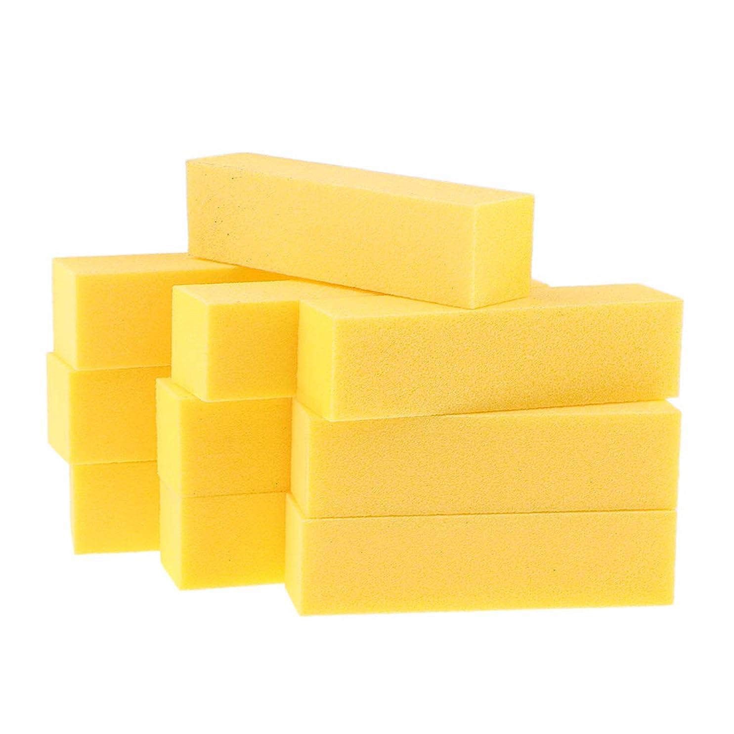 立ち向かう出会いイデオロギーB Blesiya 10個 ネイルアートファイル バッファーファイルブロック 6色選べ - 黄