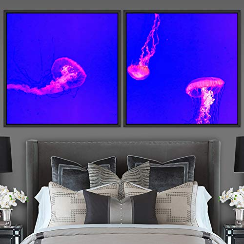 "bestdeal depot Jellyfish 2 Panels Framed Canvas Wall Art Prints for Living Room,Bedroom Framed Artwork Decoration Ready to Hang - 16""x16""x2 Panels"