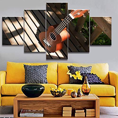 IILSZMT HD Art Cuadro De Pared 5 Partes Impresión Decoración Canvas Moderno Salón Decoración para Hogar Ukelele De Instrumento Musical