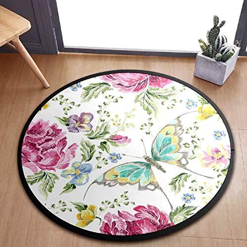 ALINLO Alfombra redonda para niños, diseño de mariposas, color rosa, acuarela, para bebé, alfombra de bebé, alfombra de gatear, para dormitorio, sala de juegos, decoración del hogar, 92 cm