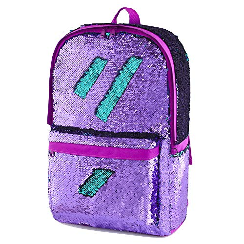 Flip Sequin Backpack for Girls Kids Kindergarten Elementary Middle School Bookbag Travel Bag Cute Glitter Sparkly Book Bags Back Pack Traveling Daypack (Purple)