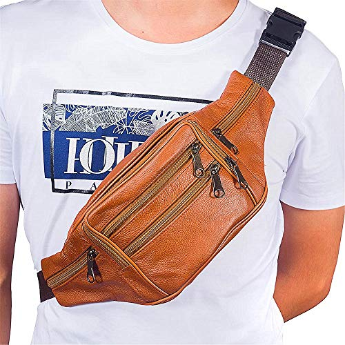 Fanny Pack Outdoor travel leather Fanny pack,Cowhide Leather Large Size 7 Pockets waist bag.Suitable for outdoor mountaineering, travel, camping, cycling, running, etc.(Light brown)