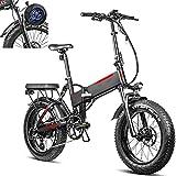 Bicicleta electrica Plegable Velocidad máxima de conducción 45 km/h Bicicleta montaña Adulto Plegable Bici Plegable Iones de Litio 13.6AH Tamaño de llanta 20 * 4.0, Negro