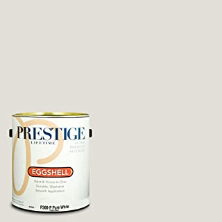 Prestige Paints P300-P-SW7014 Interior Paint and Primer in One, 1-Gallon, Eggshell, Comparable Match of Sherwin Williams Eider White, 1 gallon SW249-Eider