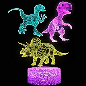 Dinosaur Night Light for Kids, XXMANX 3D Illusion Lamp Touch Control Dynamic Colors Changing with 3 Pattern Dinosaur Toys Christmas Gifts for Men Boys